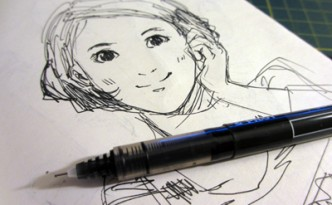 Daily sketch from Jan 19, 2013 - girl with parted hair