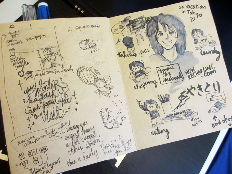 Sketchbook drawings of card ideas and NowRecharging.com doodles from Tokyo trip