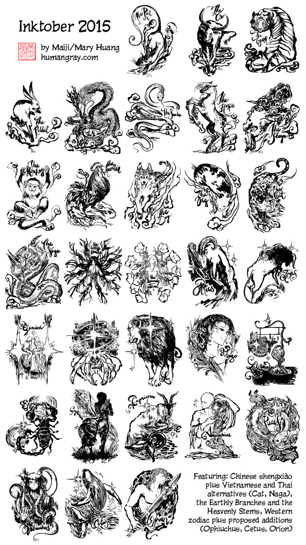 Inktober 2015 brush pen drawings featuring: Chinese shengxiào plus Vietnamese and Thai alternatives (Cat, Naga), the Earthly Branches and the Heavenly Stems, Western zodiac plus proposed additions (Ophiuchus, Cetus, Orion)