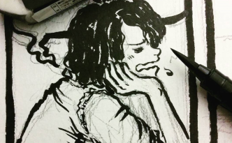 work in progress of a panel of Emmie the android being inked, Now Recharging chapter 0 page 15