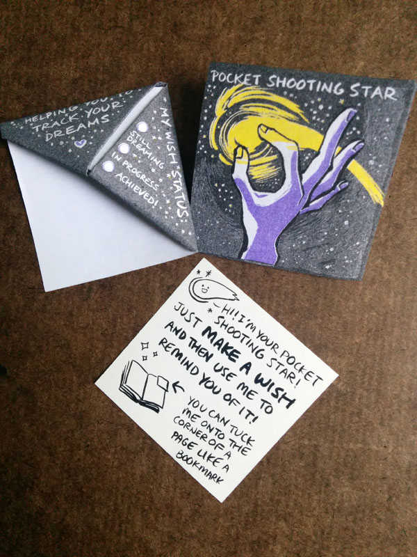 Complete set of pocket shooting star bookmarks - front, back and instructional insert
