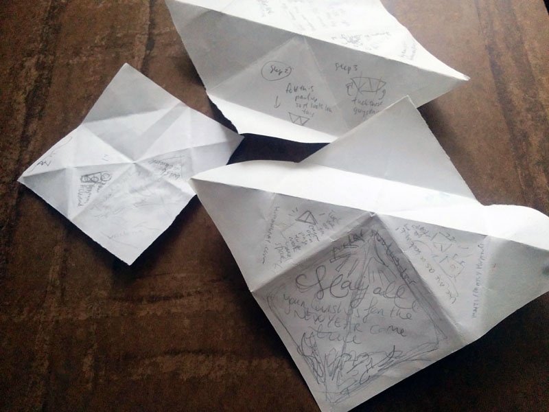 Work in progress folded models and pencil sketches of bookmark idea