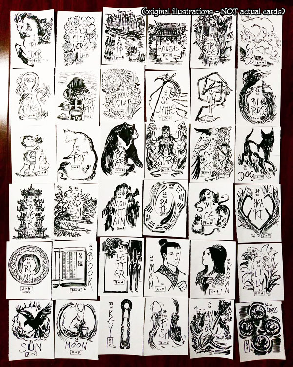 All 36 illustrations I drew for Inktober 2017 and the Lenormand card deck