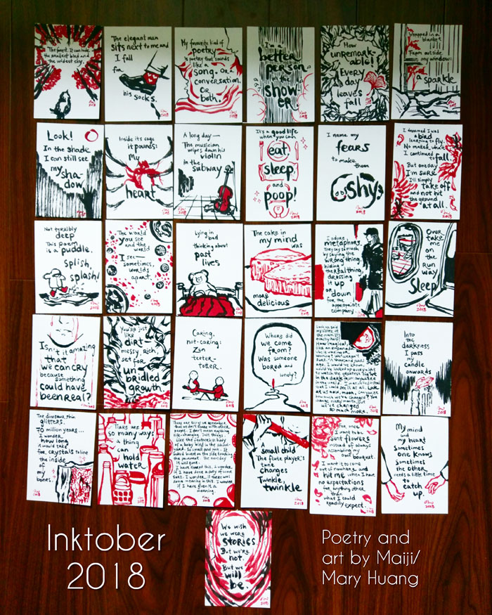 All 31 illustrated poems completed for Inktober 2018